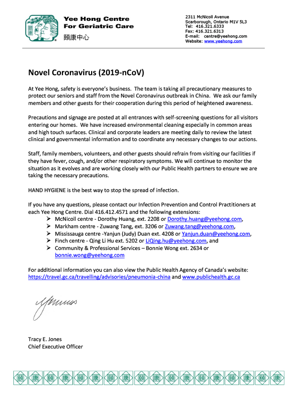 Precautionary measures in place to protect our seniors and staff from the Novel Coronavirus