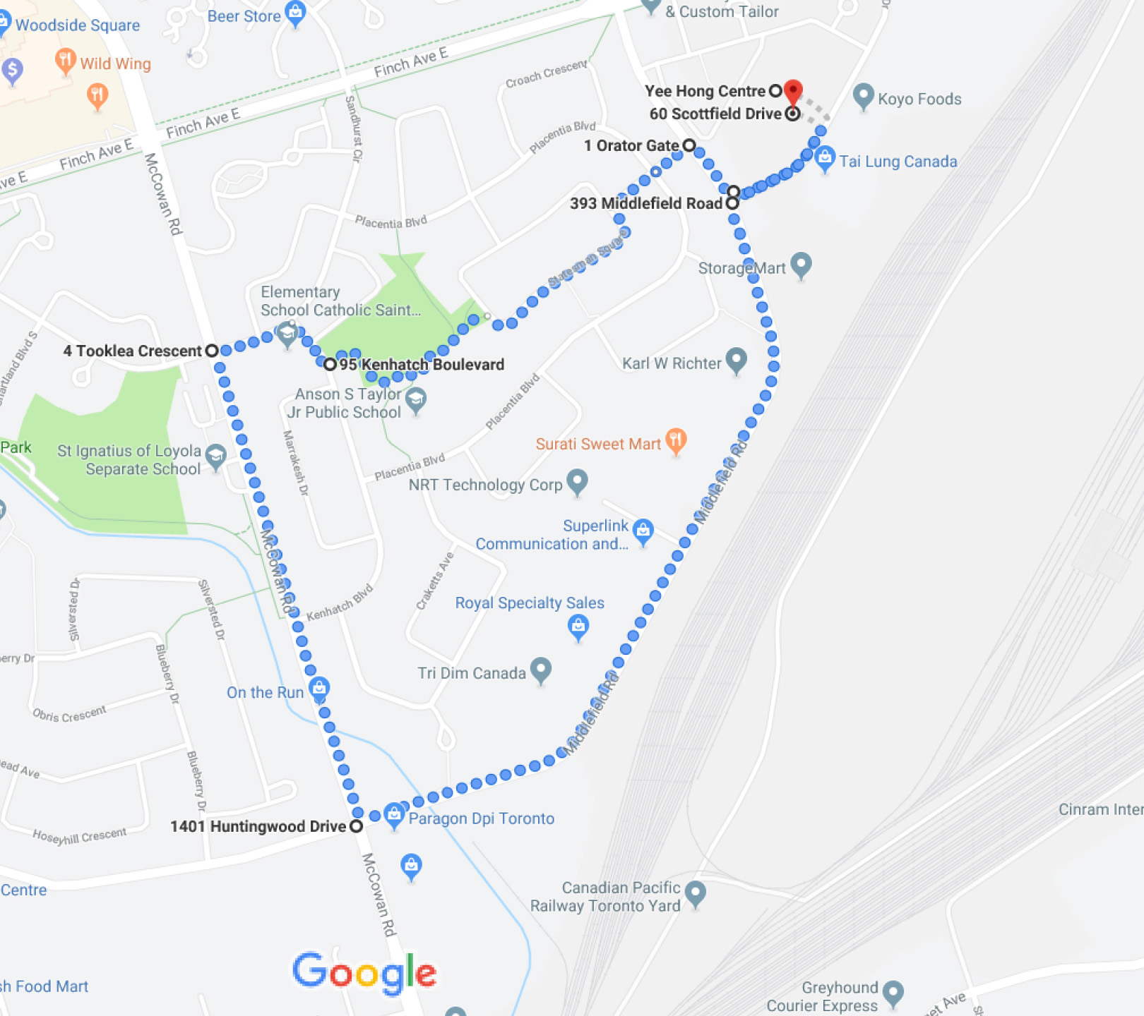 Earth Walk Route 2018 Finch