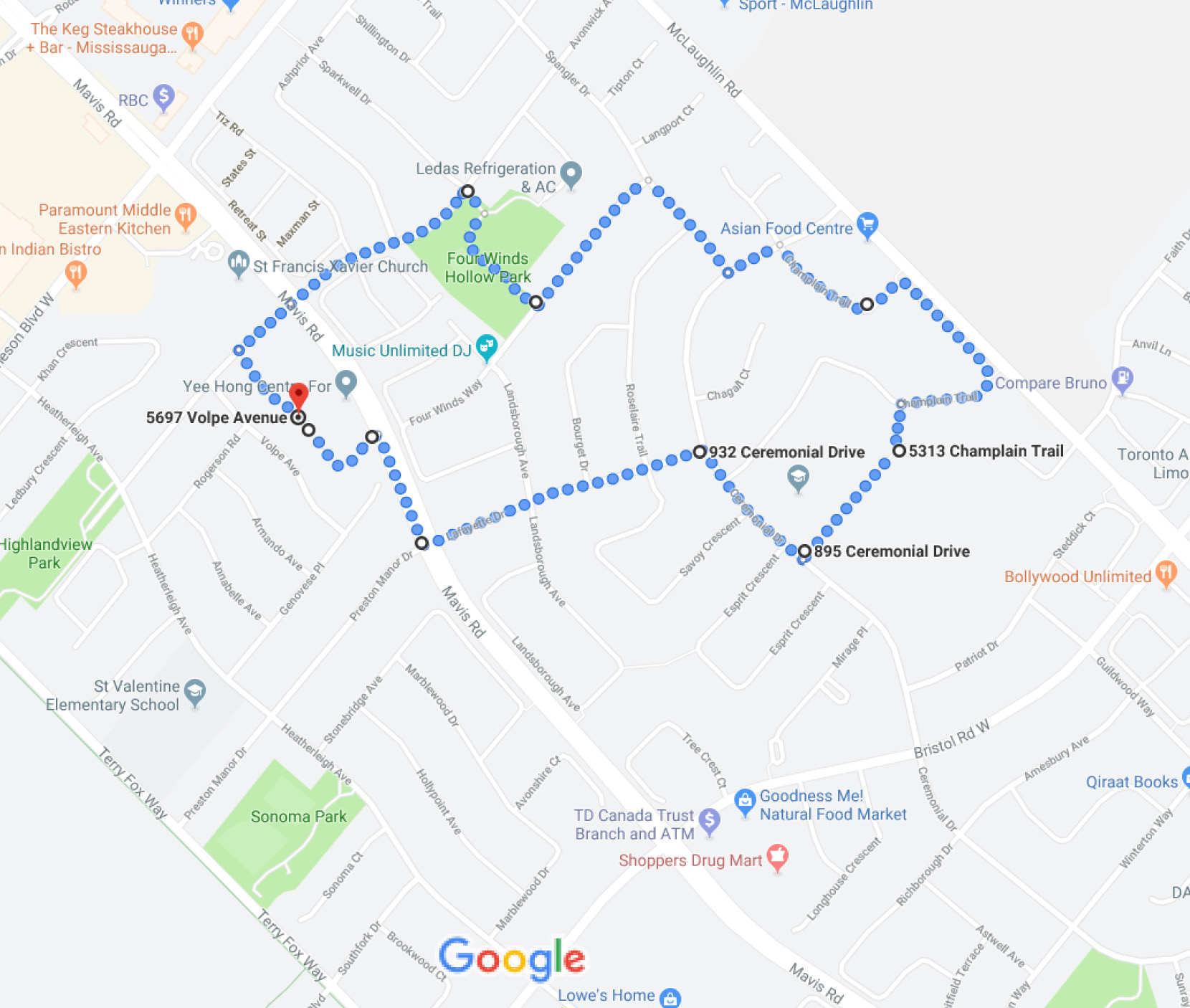 Earth Walk Route 2019 Mississauga