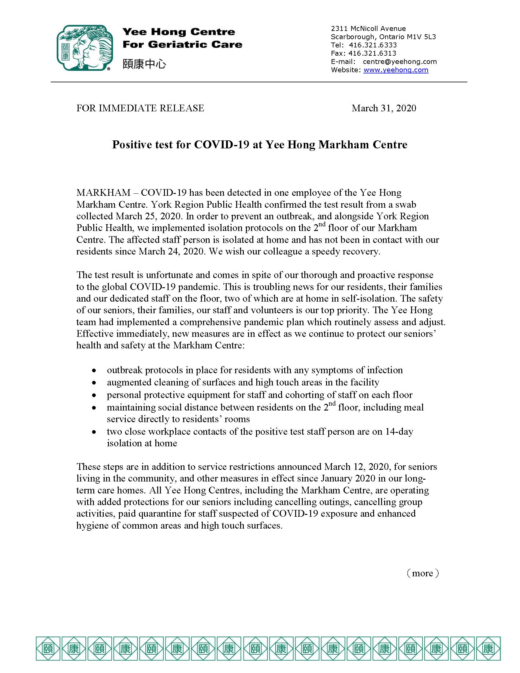 News Release Mar 31, 2020