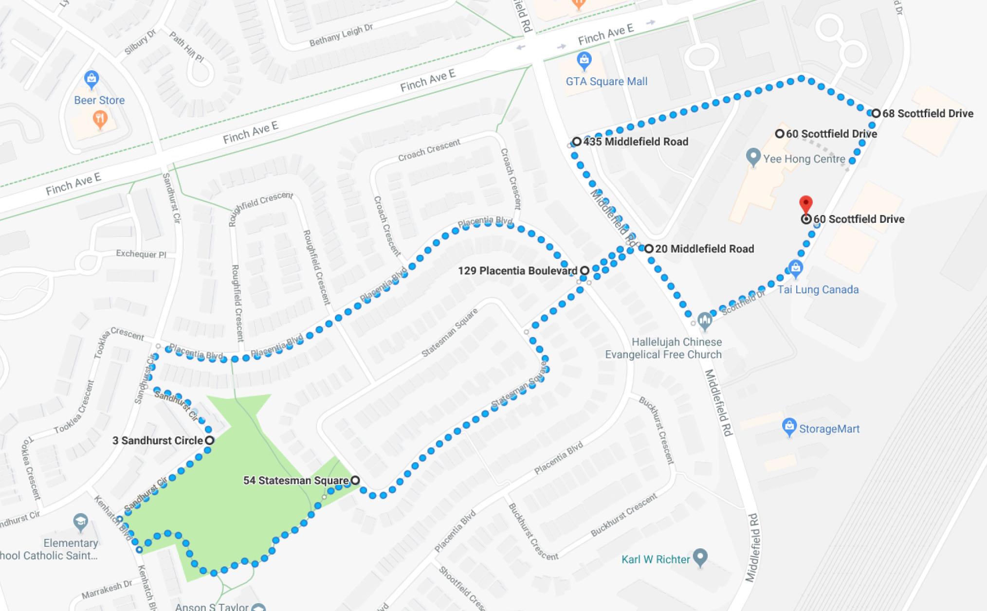 Earth Walk Route 2018 Finch