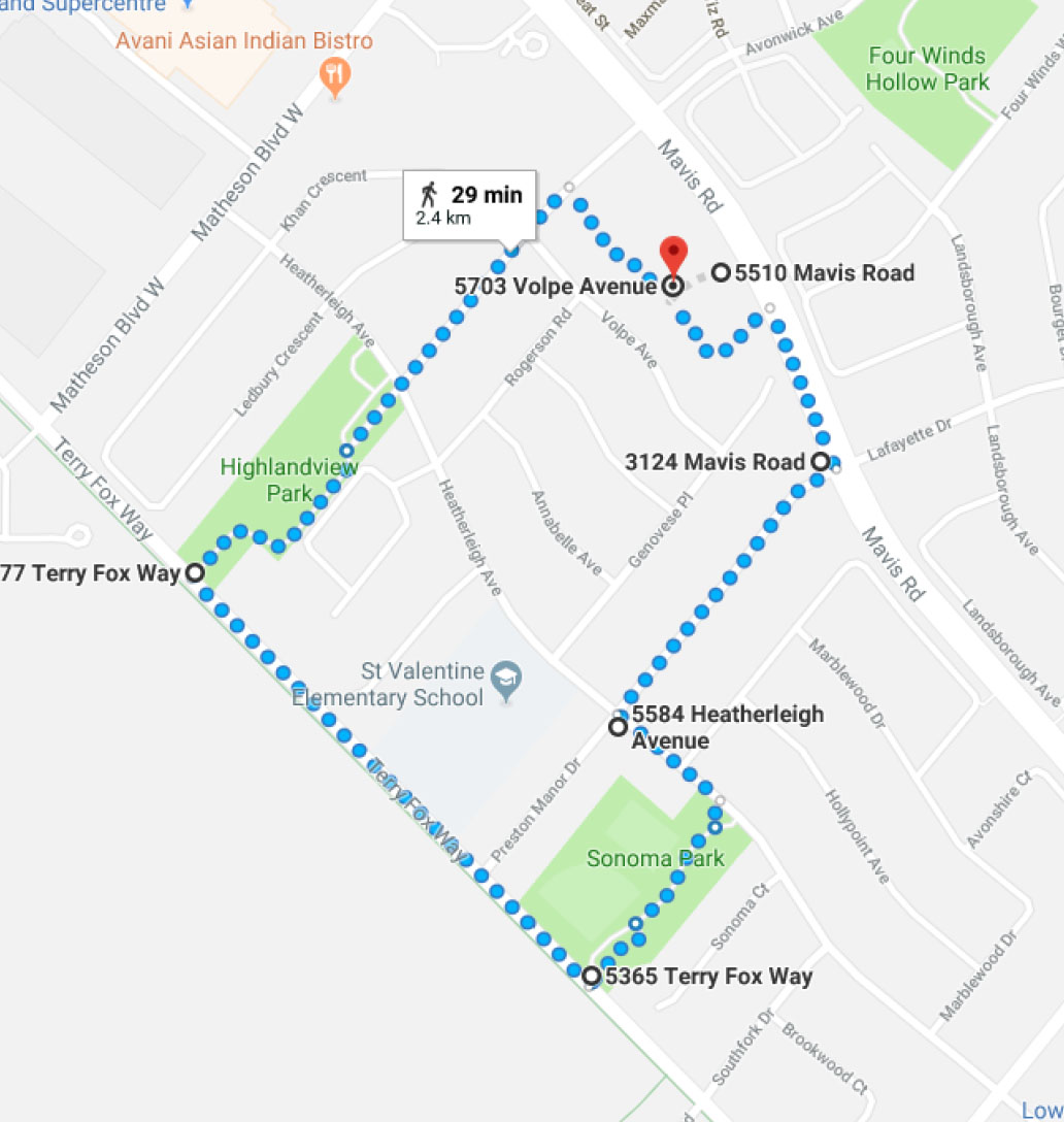 Earth Walk Route 2018 Mississauga